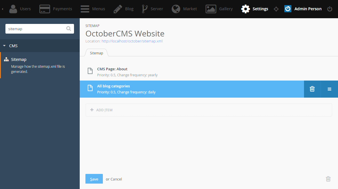 sitemap plugin october cms