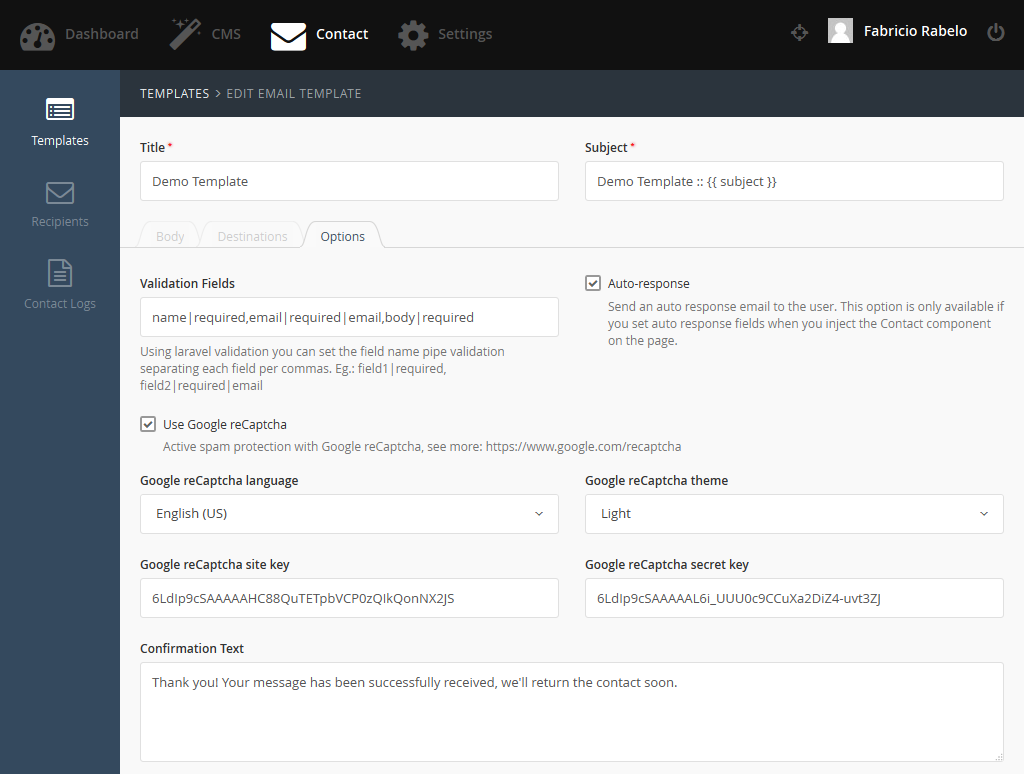 Contact plugin october cms for Google apps email templates