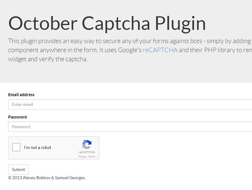 Captcha plugin - October CMS