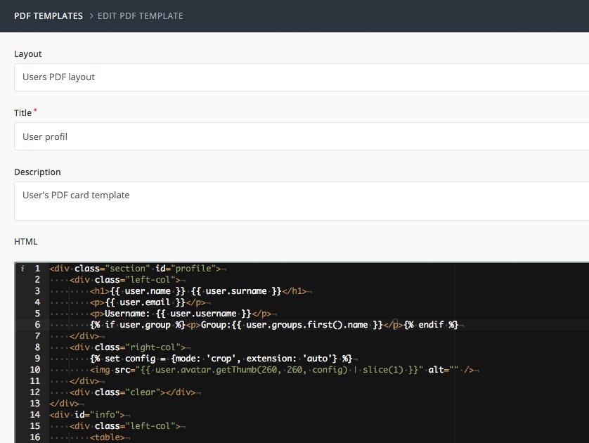 User PDF export