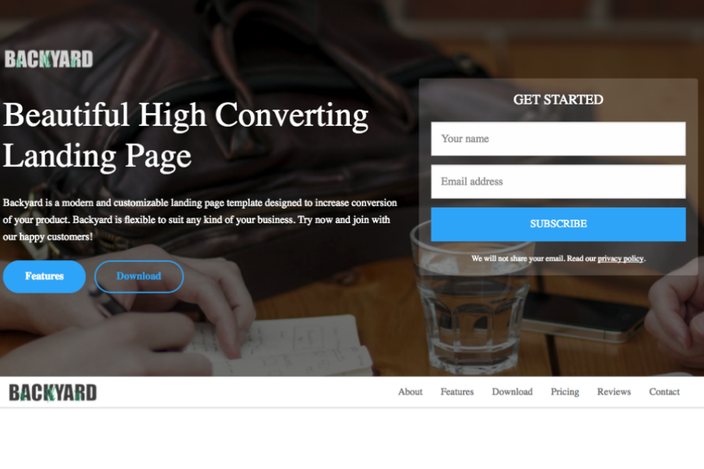 backyard high converting free bootstrap landing page template