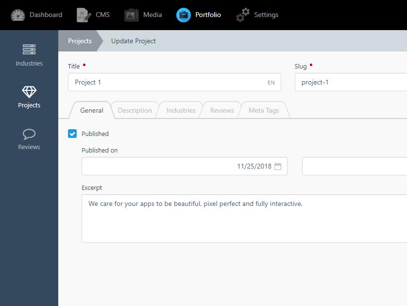 Portfolio plugin - October CMS